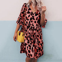 Fashion V-Neck Printed Trumpet Sleeve Loose Dress