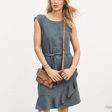NEW Linen Ruffled Wrap Dress