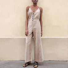 New Fashion Casual Trumpet Buckle Linen Solid Color Jumpsuit
