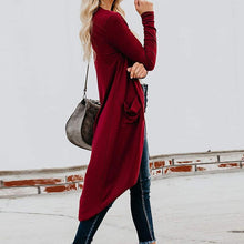 European And American Solid Color Irregular Long Knit Cardigan