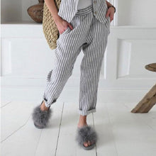 Casual Vertical Striped Linen Pants