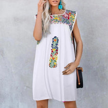 Fashion Casual Floral Printed Above Knee Square-Cut Collar Dress