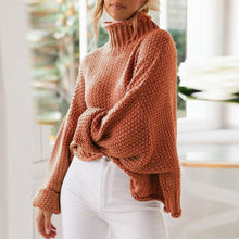 Casual High Neck Solid Color Loose Knit Pullover Sweater