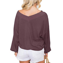 Casual Pure Colour V Neck Loose Sweater