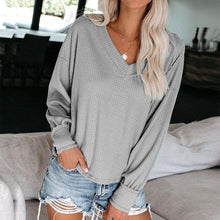 Casual V-Neck Sweater Long-Sleeved Solid Color Shirt