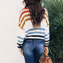 Fashion Mixed Color Striped Color Matching Loose Sweater