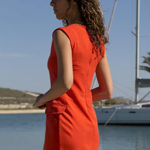 Fashion Red Decorative Buckle Sleeveless Dress