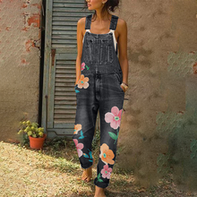 Fashion Denim Floral Print Jumpsuit Overalls