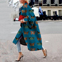 Women's Fashion Turndown Collar Printed Color Long Sleeve Coat