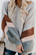 Casual V Neck Contrast Color Loose Sweater