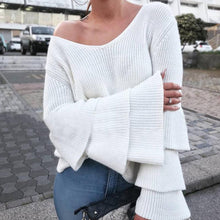 Casual V Neck Pure Color Sweater