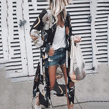 Women's Fashion Printed Color Turndown Collar Long Sleeve Cardigan