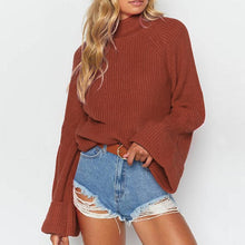 Casual Round Neck Large Wide Sleeve Solid Color Wild Sweater
