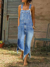 Casual Denim Blue Strap With Wide Leg Edging Jumpsuit Overall