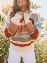 Casual Striped Round Collar Sweaters