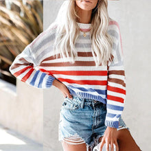 Casual Rainbow Strip Loose Sweater