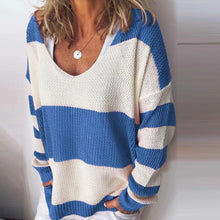 Hollow-Carved Striped V Neck Chic Sweaters