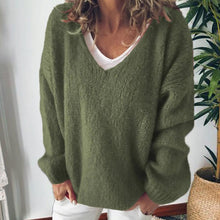 Casual V-Neck Loose Solid Long-Sleeved Knit Sweater