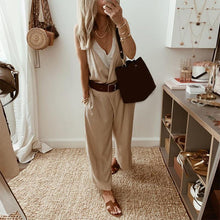 Casual V Neck Pure Color Sling Jumpsuit Overall