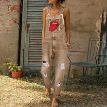 Casual Printed Broken Holes Jumpsuits