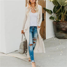 Casual Solid Color Button Long Sleeve Pocket Knit Cardigan