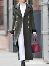 Solid Color Fold-Over Collar Long Woolen Coat