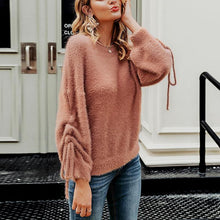 Fashion Round Neck Solid Color Sweater