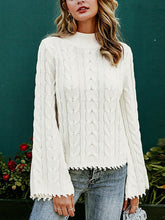 Fashion Bell Sleeve Burr Solid Color Sweater