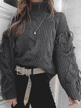 Fashion High Neck Pure Color Tassel Sweater