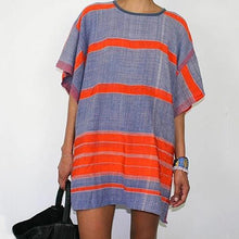 Fashion Striped Round Neck Loose Dress