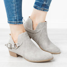 Casual Belt Buckle Pure Color Low-Heel Ankle Boots