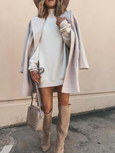 Classy Solid Color Pocket Long Sleeve Coat