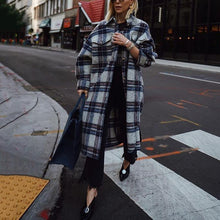 Women's Fashion Single-Breasted Long Sleeve Check Overcoat