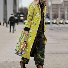Fashion Turndown Collar Long Sleeve Printed Color Overcoat