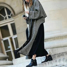 Classic Zigzag Striped Long Sleeve Irregular Hem Long Coat