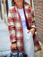 Modern Contrast Color Check Loose Overcoat