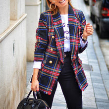 Casual Turndown Collar Long Sleeve Check Cotton Jacket