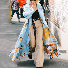 Fashion Printed Flounce Long Sleeve Overcoat