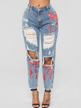 Fashion High-Waist Broken Hole Graffiti Washed Jeans