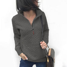 Casual Solid Color Lapel Zip Pocket Long Sleeve Sweatershirt