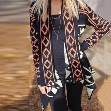 European And American Printing Irregular Hem Cardigan