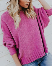 Pure Color Round Collar Long Sleeve Hollowed Out Sweaters