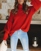 Casual High Collar Lantern Sleeves Solid Color Sweaters