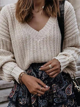 Casual V Neck Long Sleeve Worsted Sweater