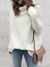 Commuting High Collar Pure Colour Loose Sweater