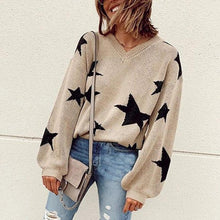Casual Round Neck Star Jacquard Sweater