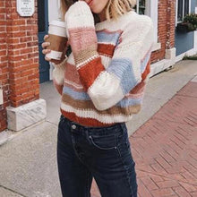 Women's Round Neck Colorblock Striped Knited Sweater