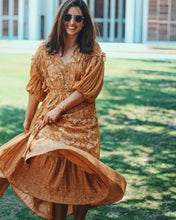 Bohemian Orange Twigs Drawstring Maxi Dress