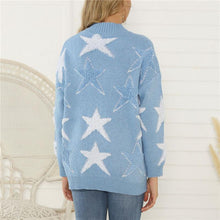 Casual Star V-neck Loose Sweater Cardigan