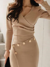 Long Sleeve Ruched Button Design Irregular Suit Dresses